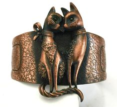 Two Cats Copper Cuff Textured Copper Tone Metal by Vintageimagine