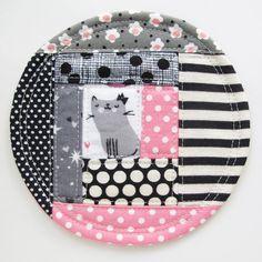 Kitty Patchwork Coaster 2016.1  Pink Black by michellepatterns