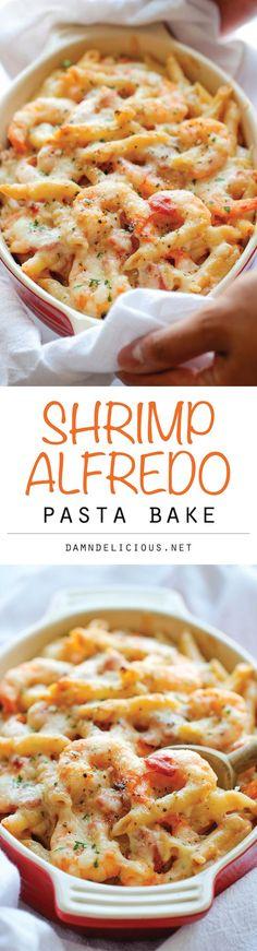Shrimp Alfredo Pasta Bake.  Pin now, try later!