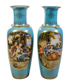 A Pair of Large Sevres Style Porcelain Vases Height 47 3/4 inches.