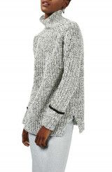 Topshop Stripe Cuff Funnel Neck Sweater