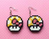 Mario Mushroom Earrings - Super Mario - Nintendo, 8-Bit Pixel, Mini Hama Beads, Perler Beads, DOUBLE-LAYERED
