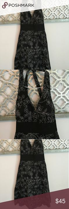 EUC - WHBM LBD - Embroidered Black Dress Black Midi length halter dress with lightly padded cups. Black dress with beautiful white embroidery throughout. A great closet staple. Size 2 - worn once - great condition. Smoke free home! White House Black Market Dresses Midi