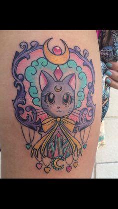 Luna Sailor Moon tattoo. Artist: Sarai Tapia (Elizabeth St. Tattoo, Riverside CA)
