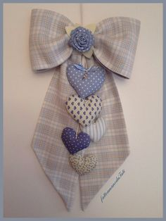 Fiocco nascita in cotone a quadri scozzesi azzurri e beige con cuori , by fattoamanodaTati, su misshobby.com
