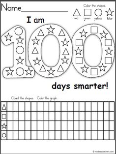 Free graphing and shape recognition activity for the 100th day of school. This is a wonderful activity for Kindergarten and 1st grade students. Children color the shapes, then they complete the graphing activity by counting the shapes in the 100 days of school picture. Have a great winter and February!