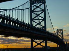 Ben Franklin Bridge, Philadelphia PA early morning July 2014