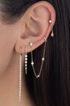 Available in an assortment of quality diamond earrings, stud earrings, hoop earrings and more. Pretty Ear Piercings, Ear Piercings Chart, Ear Peircings, Unique Piercings, Bijoux Piercing Septum, Ear Piercings Cartilage, Body Piercings, Ear Jewelry, Cute Jewelry