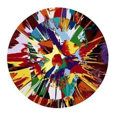 Damian Hirst  Artwork Title: Beautiful Helios Hysteria Intense Painting (with Extra Inner Beauty), 2008  Household gloss on canvas. 45.7cm round  Damien Hirst  Famous British artists - Abstract Paintings     About Beautiful Helios Hysteria Intense Painting (with Extra Inner Beauty)  The round spin painting by Damien Hirst is one of a series that Hirst has created throughout his career. The paintings were created by dripping household paint onto the spinning artwork.