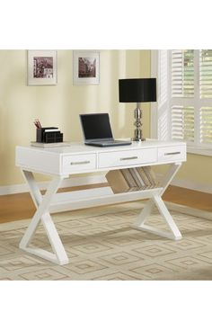 Coaster Company Desks Contemporary Writing Desk With Shelf And Drawers White