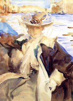 John Singer Sargent - Jane de Glehn in a gondola. He's known for his oil portraits, but he was also an incredible water colorist. Figure Painting, Painting & Drawing, Painting Classes, John Singer Sargent Watercolors, Beaux Arts Paris, Sargent Art, Giovanni Boldini, Illustration Art, Illustrations