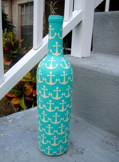 Items similar to Aqua Nautical Anchor Upcycled Glass Bottle on Etsy - Bottle Crafts Cork Crafts, Crafts To Do, Arts And Crafts, Diy Crafts, Wine Bottle Corks, Wine Bottle Crafts, Bottles And Jars, Glass Bottles, Wine Bottle Design