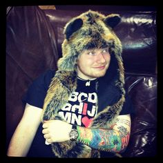 Ed Sheeran repping the Red Wolf SpiritHood!
