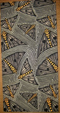 'BOGONG MOTHS' SIGNED 4 COLOR SILKSCREEN FABRIC BY BRUCE GOOLD STRETCHED OVER A FRAME 915 x 610 cm $450.