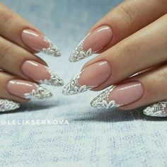 Wedding Nails-A Guide To The Perfect Manicure – NaiLovely Perfect Nails, Gorgeous Nails, Pretty Nails, Lace Nails, Flower Nails, Nail Art Fleur, Bridal Nail Art, Bride Nails, Wedding Nails Design