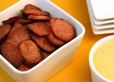 Johnsonville Sausage Chips and Honey Mustard Dip- A new breakthrough in chip/dip technology has arrives! Enjoy your favorite sausage as a thin chip dipped into a delicious dip that will make other chips weep in shame!