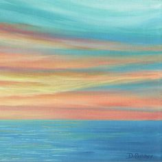 This original sunset painting by Denise Cunniff works great as bedroom wall art, living or dining room art, or office decor. Colors include teal, turquoise, yellow, coral and orange. Canvas prints are also available up to 72 wide (see more options below).  ☼ This painting is made to order. Please allow up to three weeks for me to complete your painting (+ shipping time). The artwork will be similar to this listing, but as it is with all art that I re-create, there will be slight differences…
