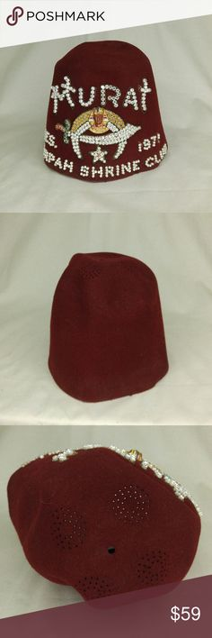 1971 Vintage Shriner Fez Red Felt Hat Vintage Red Felt Shriner's Fez   Shrine of Muncie Indiana  Tiki Bar Must Have!   See photos for details. There are a few missing rhinestones, the lining is faded, and there are loose stiches between the lining and outer felt. Vintage Accessories Hats