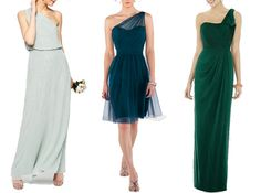 Gorgeous green one shoulder bridesmaid dresses