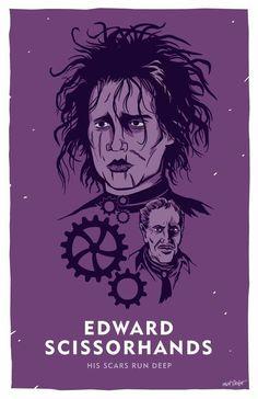 Tim Burton's Edward Scissorhands as played by Johnny Depp, illustration by Matt Talbot Cult Movies, Scary Movies, Great Movies, Horror Artwork, Edward Scissorhands, Love Film, Alternative Movie Posters, Movie Poster Art, Halloween Art