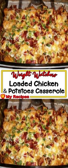 Jan 2020 - YOU'LL NEED: 1 lb(s) boneless chicken breasts, cubed med. skin on red potatoes, cut Weight Watchers Casserole, Poulet Weight Watchers, Plats Weight Watchers, Chicken And Red Potatoes Recipe, Cubed Chicken Recipes, Red Potato Recipes, Potatoes Crockpot, Loaded Potato Casserole, Chicken Potato Casserole