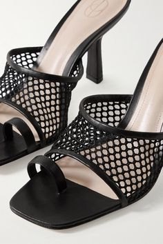 Heel measures approximately inches Black fishnet and leather (Goat) Slip on ImportedSmall to size. Black Leather Mules, Thick Leather, Shoes Sandals, Heels, Toe Shoes, Flat Shoes, Black Fishnets, Blazer, Designer Shoes
