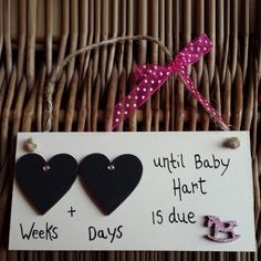 'Double Heart Range' Countdown to Baby Plaque - Pink Rocking Horse