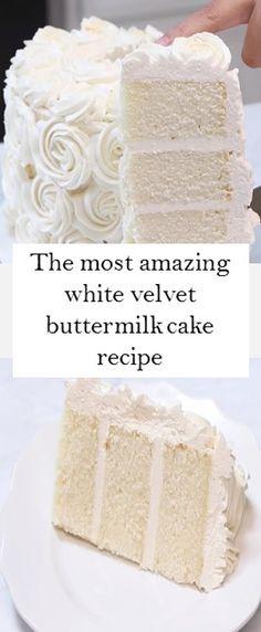 The most amazing white velvet buttermilk cake recipe - Rezepte Ideen 2020 Cupcakes, Cupcake Cakes, Frosting Recipes, Cake Recipes, Dessert Recipes, Köstliche Desserts, Delicious Desserts, White Velvet Cakes, Brownie Cake
