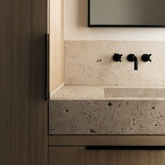Home Interior 2019 Stone bathroom sink on a wood vanity great example of biophilic design.Home Interior 2019 Stone bathroom sink on a wood vanity great example of biophilic design. Stone Bathroom Sink, Natural Bathroom, Stone Sink, Small Bathroom, Master Bathroom, Bathroom Ideas, Bathroom Vanities, Wood Stone, Travertine Bathroom