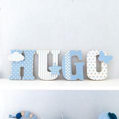 Lettres prénom en Bois et tissu imprimé pour chambre enfant modèle bleu et blanc