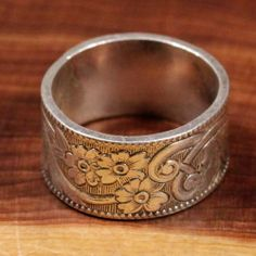 Vintage Sterling Silver - Floral 9mm Band 6.4g - Ring (6) HD456