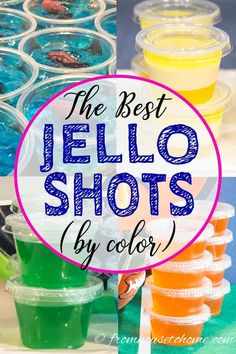 The Best Jello Shot Recipes (By Color) - Entertaining Diva Recipes @ From House To Home I LOVE this list of the best jello shots by color! Lots of easy recipes that are made with vodka, tequila, rum or coconut rum. Pink Jello Shot Recipe, Orange Jello Shots, Fireball Jello Shots, Easy Jello Shots, Margarita Jello Shots, Making Jello Shots, Jello Pudding Shots, Jello Shot Recipes, Jello Shooters Recipe