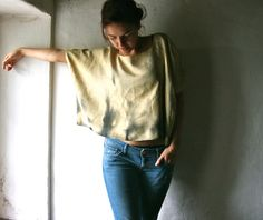 Loose top, yellow silk blouse, extra large blouse, oversized top, womens silk shirt, maternity top, loose clothes, shot sleeved silk blouse, on Etsy, $104.62