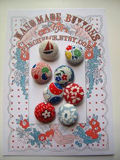 Handmade Fabric covered button mixed set of 8, sewing supplies. $8.00, via Etsy.