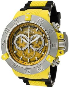 Invicta Men's Black Strap Subaqua Quartz Chronograph Diver Yellow http://www.squidoo.com/workshop/invicta-watchesformen-review