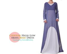 Blue Printed Chiffon High Low Long Sleeved Abaya Maxi Dress-  Size S/M 6020 FREE SHIPPING! by Tailored2Modesty on Etsy