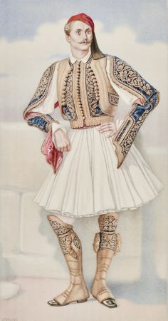 Greek Town Costume of the Peloponesus including Fustanella - Greek Costume… Greek Traditional Dress, Traditional Fashion, Traditional Outfits, Ancient Greek Costumes, Greek Independence, Benaki Museum, Vintage Magazine, Greek History, Costume Collection