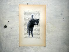 Cat original painting in black  watercolor and tempera on by vumap, €27.00