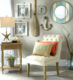 Nautical Beach Cottage Gallery Wall Idea from Kirkland's: http://www.completely-coastal.com/2016/03/coastal-beach-cottage-wall-decor-ideas.html