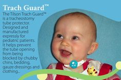 This trach guard would help keep her little fingers from covering up her airway!