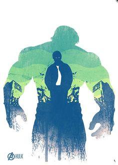 Hulk in green & blue.