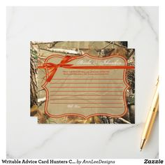 Check out Zazzle's wedding advice cards today. Choose from thousands of unique designs created by our talented team of independent designers. Wedding Advice Cards, Happy Marriage, Hunters, Special Day, Camo, Card Holder, Camouflage