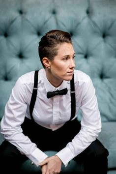 This Photo Shoot Is All The Dapper Holiday Inspiration You Need - Modern Butch Fashion, Queer Fashion, Tomboy Fashion, Tomboy Style, Androgynous Women, Androgynous Fashion, Lgbt, Lesbian Wedding, Butches