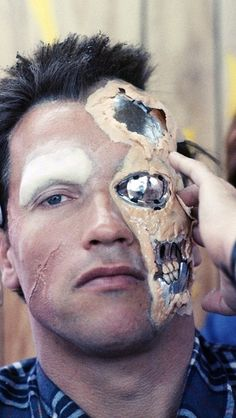 Arnold during prosthetic application in 1984.