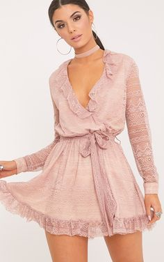86b2798c41 Dusty Pink Lace Frill Wrap Over Shift Dress Frills are totally in for the  season so