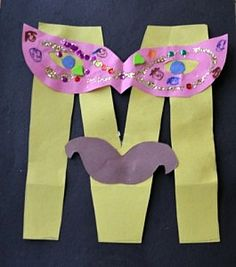 Alphabet Letter M is for Mask.      This Alphabet Craft for kids is all about taking Alphabet Lett