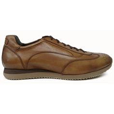 Zapato deportivo en color cuero de Pertini vista lateral