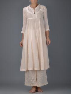 Buy Pink Cotton Mul Kalidar Kurta Women Kurtas Effortless Elegance Chanderi pants and dupattas with mukaish gota Online at Jaypore.com
