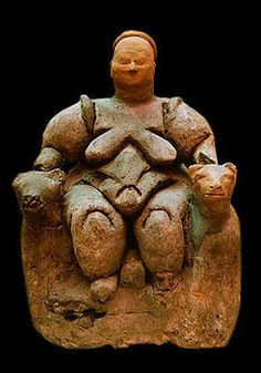 """Evidence of prehistoric religion: Neolithic """"Potnia Theron"""" type goddess, seated on a throne flanked by two lionesses, from Çatalhöyük."""