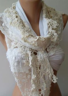 Pearl Color  Elegance Shawl / Scarf with Lace Edge by womann, $19.90